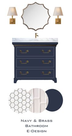 Knox bathroom, blue vanity, white subway tile for shower, penny rounds white tile floor I Coming Home, Enchanted Home, Master Bath, Mood Boards, Dresser As Nightstand, Thursday Afternoon, Bathroom Vanities, Bathroom Ideas, Bathrooms