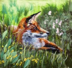MarmaladeRose. wet felted wool painting.