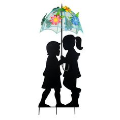 Alpine Corporation Solar Girl and Boy Silhouette with Umbrella Decor with LED Lights, Multicolor(Iron) Garden Stakes, Garden Art, Umbrella Decorations, Boy Silhouette, Solar Powered Led Lights, Light Girls, Blue Umbrella, Dusk To Dawn, Plastic Flowers