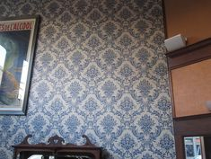 Blue Damask Wallpaper at San Francisco's Comstock Saloon | POPSUGAR Home