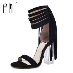 2017 Gladiator Women High Heel Sandals Sexy Crystal Transparent Women Shoes Extreme 10 CM high heels Tassels heels 3 Color #Affiliate