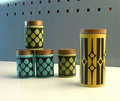 Made by Hornsea Pottery, these are just a small sample from a large range of geometric cruets produced in the early 1970s.
