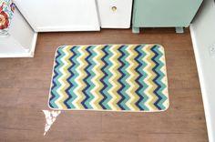 Vintage camper makeover - mat flooring vintagemeetsglam.com