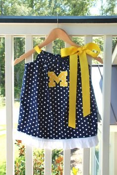 Items similar to Silly Lilly Kids - Pillowcase Dress - University of  Michigan Polka Dots - Custom Size on Etsy b69e74a96420