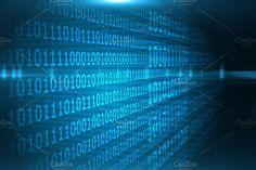 Shiny blue binary code on black background by wavebreak on @creativemarket