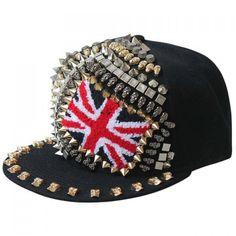 Punk Style Pointed Rivet Skull Union Flag Shape Embellished Men's Baseball Cap #CLICK! #clothing, #shoes, #jewelry, #women, #men, #hats