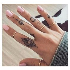 50 Beautiful Finger Tattoo for Women ❤ liked on Polyvore featuring accessories, body art and tattoos