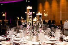 Floating orchid centerpieces // Fall Wedding at the Sofitel Chicago Water Tower in Chicago, IL // © gntphoto.com
