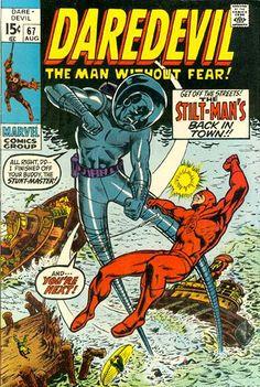 """Daredevil # """"Stilt-Man Stalks the Soundstage"""" (August, Cover by Marie Severin, Bill Everett & Sam Rosen. Old Comic Books, Vintage Comic Books, Marvel Comic Books, Comic Book Covers, Vintage Comics, Marvel Characters, Marvel Villains, Costume Rouge, Comics For Sale"""