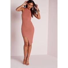 Missguided Ribbed Cut Away Hem Bodycon Dress ($31) ❤ liked on Polyvore featuring dresses, rose, midi body con dress, calf length dresses, bodycon cocktail dress, pink body con dress and midi cocktail dress