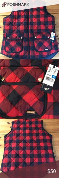 NWT plaid vest. This super cute vest is navy and red plaid. Perfect for a nice cool day! U.S. Polo Assn. Jackets & Coats Vests