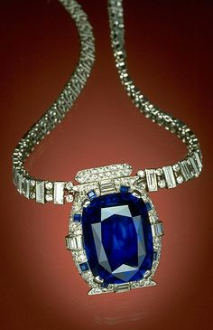 The 98.57-carat Bismarck Sapphire is mounted in a diamond and platinum necklace, designed by Cartier, Inc. The sapphire exhibits the highly-valued deep blue color of fine sapphires from Burma. The necklace is named after its donor, Countess Mona von Bismarck, an American socialite who married German Count Eduard von Bismark.  She donated the necklace to the Smithsonian in 1967.