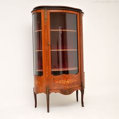 Antique French Inlaid Marquetry Display Cabinet - Antiques Atlas
