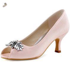 ElegantPark HP1540 Women Pumps Comfort Heel Peep Toe Leaf Rhinestones Satin Evening Prom Wedding Shoes Pink US 7 - Elegantpark pumps for women (*Amazon Partner-Link)
