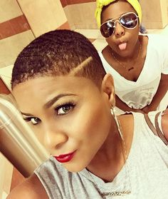 Bathroom mall #selfie with a fresh out the chair haircut #girlsrockingfades #EclecticNista #bathroomselfie #photobombed by Jada  #redlips