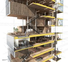 Amsterdam Housing, Sectional Perspective - Max Obata