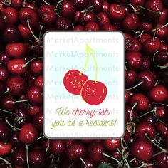 Let your residents know that you appreciate them with this resident gift! It's perfect for summer or a move-in gift. Attach it to your favorite cherry candy or just give them a sweet note! #residentretention Resident Retention, Moving Gifts, Cherry Candy, Gift Tags Printable, Senior Living, Sweet Notes, Social Media Graphics, Just Giving, Appreciation