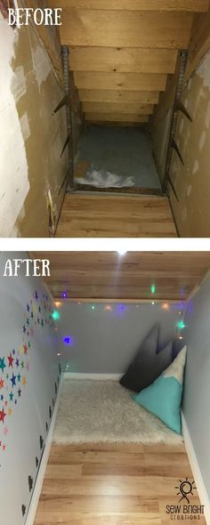 My DIY Sewing Room Makeover - Sew Bright Creations Area under staircase Play room under stairs nook under stairs under stair way kids small play spaces diy stair well Under Stairs Playroom, Under Stairs Playhouse, Space Under Stairs, Entryway Stairs, Under Stairs Cupboard, Basement Stairs, Basement Ideas, Basement Ceilings, Basement Plans