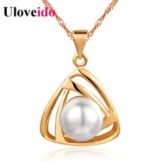 15% Off Simulated Pearl Necklace Jewelry Triangle Pendants Fashion Rose Gold Color Necklaces for Women Wedding Uloveido N826