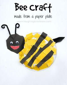 Bee craft using paper plate and great fun for toddlers and preschoolers