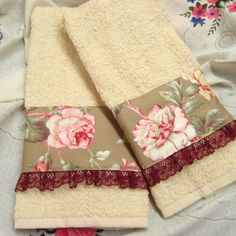 2 /Custom Decorated Hand Towels RALPH LAUREN fabric by Sew1Pretty