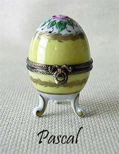 PASCAL Painted Eggs  AF Limoges Boxes Hand painted Porcelain from Limoges, France.