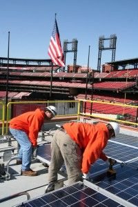 Both the St. Louis Cardinals and the Kansas City Royals have installed solar panels that were up and running when the 2012 season opened.
