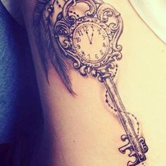 What does skeleton key tattoo mean? We have skeleton key tattoo ideas, designs, symbolism and we explain the meaning behind the tattoo. Tattoos Masculinas, Watch Tattoos, Body Art Tattoos, Sleeve Tattoos, Tatoos, Stop Watch Tattoo, Heart Tattoos, Girly Sleeve Tattoo, Garter Tattoos