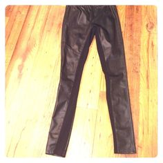Weekend SaleImitation leather skinny pants!! Pleather two-toned pants with stretchy cotton material on the inner leg part. Size is XS but stretches up to a M, therefore these pants will be too big for a true XS person. Only worn a few times. Mossimo Supply Co Pants Skinny