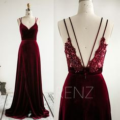 More colors Party Dress Burgundy Bridesmaid Dress V Neck Illusion Lace Back Formal Dress Long Slit Fitted Wedding Dress Long Velvet Prom Dress RenzRags out of 5 stars Long Wedding Dresses, Prom Dresses, Formal Dresses, Burgundy Bridesmaid Dresses Long, Burgundy Sequin Dress, Slit Wedding Dress, 1950s Dresses, Bridesmaid Gowns, Long Dresses
