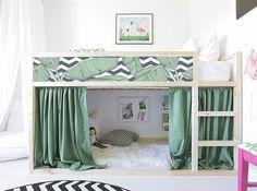Mommo design: ikea hacks for kids - girly kura bed Kura Cama Ikea, Kura Bed Hack, Ikea Loft Bed Hack, Ikea Kura Hack, Ikea Nursery, Nursery Decals, Ikea Girls Bedroom, Bedroom Ideas, Bedroom Designs