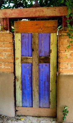 Santa Fe, New Mexico door Cool Doors, Unique Doors, Portal, Entrance Doors, Doorway, Front Doors, New Mexico Style, When One Door Closes, Santa Fe Style