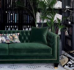 Tailored, Trendy and Art Deco! Balfour is our most charming, luxury sofa boasting a fusion of contemporary and classic style, perfectly combined in this divine hand finished piece. Photographed in House Velvet - Forest Green with gold studding, gold cappe Art Deco Living Room, Living Room Green, Green Rooms, Living Room Designs, Art Deco Sofa, Room Art, Living Rooms, Sofa Design, Home Interior