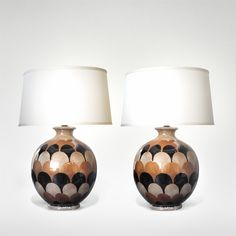 The boldness of the 1970's.  A Pair of Italian 1970's Handmade Ovoid-Shaped Ceramic Lamps with Imbricating Glaze 1970's. http://www.epocasf.com/node/11085 . #ceramic #handmade #italian #lavaglazed #modern #mod #stylish #largescale #lighting #tablelamp #midcenturymodern #1970s #italy #pair #lamps #20thcentury #hollywoodregency #midcentury #interiordesign #SF #sanfrancisco #homedecor #instainteriors #homedecor #luxe #interiors #designanddecoration #vintage #retro #interiors