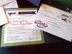 Love is in the Air - Beach Airplane Wedding Side Pocket Invitation shown in green, purple and ivory (5x5). $5.65, via Etsy.