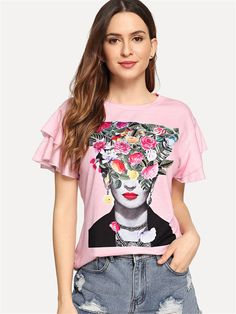 To find out about the Figure & Flower Print Flutter Sleeve Tee at SHEIN, part of our latest T-Shirts ready to shop online today! Blouse Outfit, Tee Dress, Dress Shirts, Wrap Dress, Printed Blouse, Printed Shirts, Shein Dress, Nice Dresses, Short Dresses