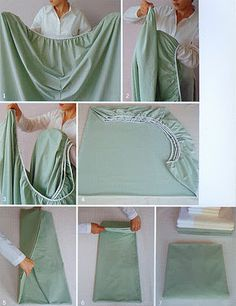 Folding fitted sheets. haha! One day I'll try it, except these look like they've been ironed. No way!