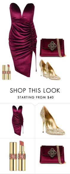 """""""Velvet V"""" by societyofchic ❤ liked on Polyvore featuring Sebastian Milano, Yves Saint Laurent and Bebe"""