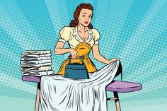 Buy The Hotel Maid Irons Linen by studiostoks on GraphicRiver. The hotel maid iron irons linen, pop art retro vector illustration. Hotel service and cleaning Desenho Pop Art, Laundry Art, Business Cartoons, Pop Art Women, Retro Housewife, Vintage Laundry, Retro Vector, Retro Cartoons, How To Iron Clothes