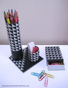 De #cartón reciclado a conjunto de escritorio   Decoración de Interiores • Desk set from cardboard and masking tape #DIY