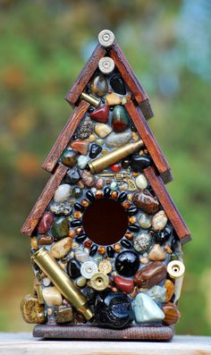 Outdoor hanging Birdhouse with Wine Corks by WinestoneBirdhouses