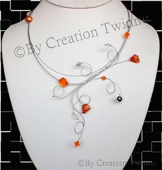 Unique wedding jewelry,funky and cool jewelry design by creationtwinne Burnt Orange, Orange Grey, Orange Necklace, Black Necklace, Bridesmaid Earrings, Bridesmaid Gifts, Bridesmaids, Collier Turquoise, Wire Wrapping