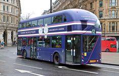 at Charing Cross / Trafalgar Square. New Routemaster, Luxury Bus, Subway Map, Bus Coach, Trafalgar Square, London Bus, Busse, Coaches, Exotic