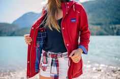 Gal Meets Glam Diablo Lake - Penfield jacket, Current Elliott shirt, 7FAM shorts & Calypso St. Barth tank