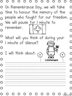 REMEMBRANCE DAY (CANADA) - A TRIBUTE UNIT FOR NOV. 11TH (LITERACY MATH ART) - TeachersPayTeachers.com