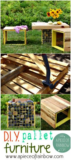 Pallet Wood Bench and Gabion Table - 150 Best DIY Pallet Projects and Pallet Furniture Crafts - Page 12 of 75 - DIY & Crafts