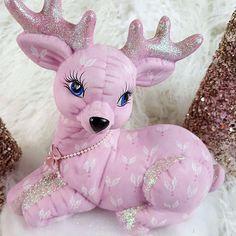 Shabby Pink Christmas Deer Reindeer Ceramic Figurine Handmade n Painted Glitter