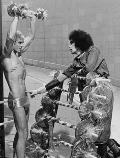 Tim Curry and Peter Hinwood on the set of The Rocky Horror Picture Show (1975)