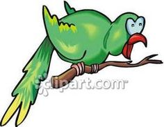 A Squawking Parrot on a Branch - Royalty Free Clipart Picture