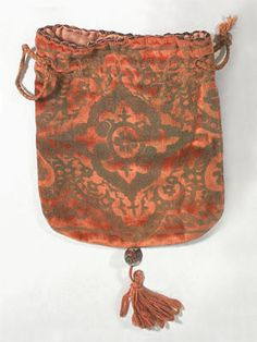 Hand-stenciled silk velvet purse attributed to Fortuny, c.1925.